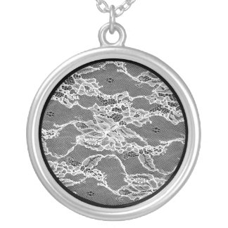 white lace, marriage, wedding, feminin, flower silver plated necklace