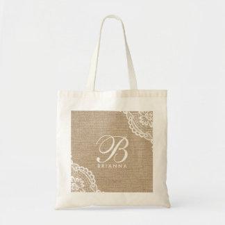 White Lace Monogram Burlap Elegant Tote Bag