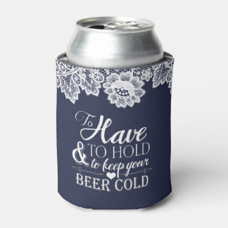 White Lace Navy Blue Monogram Wedding Can Cooler