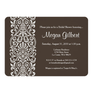 White Lace on Brown Bridal Shower Card