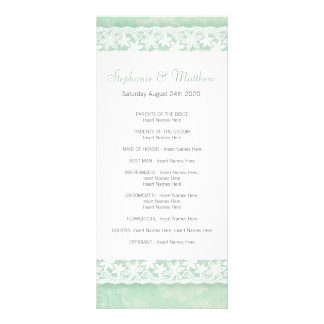 White lace on green wedding program rack card