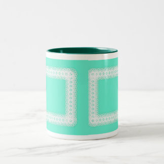 White Lace on Lime Green -DIY Two-Tone Coffee Mug