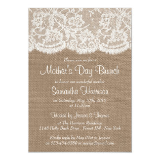 White Lace On Rustic Burlap Mother's Day Brunch Card