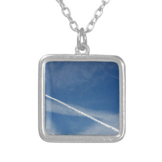 white lace on the sky silver plated necklace