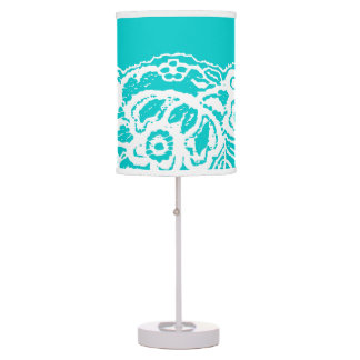 White Lace Over Turquoise Blue Lamp