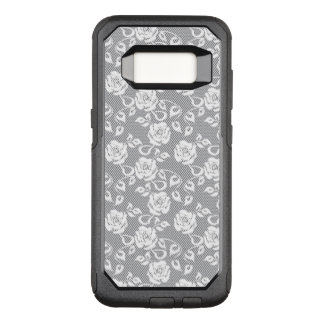 White lace pattern on gray background OtterBox commuter samsung galaxy s8 case