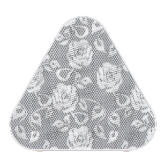 White lace pattern on gray background speaker