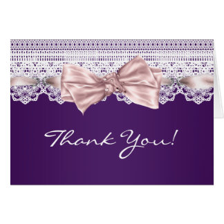White Lace Pink Purple Thank You Cards
