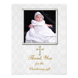White Lace Religious Photo Card Invitations