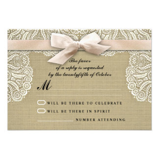 White lace ribbon and burlap wedding RSVP cards