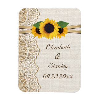 White lace, ribbon, sunflowers and burlap wedding magnet