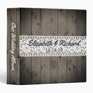 White Lace Rustic Wood Wedding Planner Monogrammed Binders