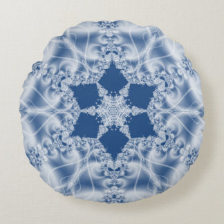 White lace satin look fractal pattern round pillow