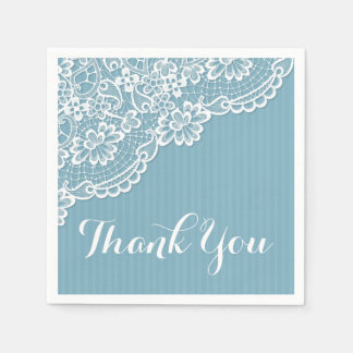 White Lace Thank You Blue Stripes Wedding / Party Paper Napkin