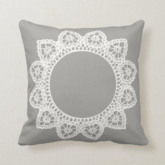 White Lace Throw Pillow