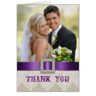 White Lace Vintage Wedding Photo Thank You Purple Card