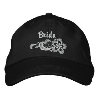 White Lace Wedding - Bride Hat Embroidered Baseball Caps