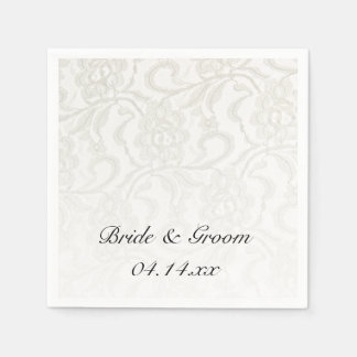 White Lace Wedding Disposable Napkins