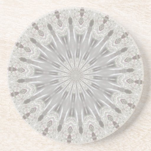 White Lace Wedding Kaleidoscope (Your Words Here) Coasters