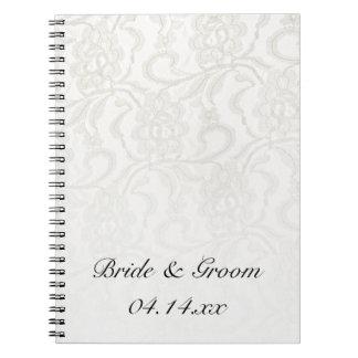 White Lace Wedding Notebooks