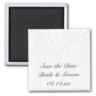 White Lace Wedding Save the Date Magnet