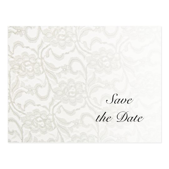 White Lace Wedding Save the Date Postcard