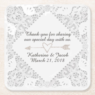 White Lace Wedding Thank You Favor Paper Coaster