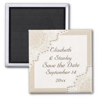 White lace with pearls wedding Save the Date Square Magnet