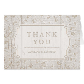 White lace wood rustic country wedding thank you card