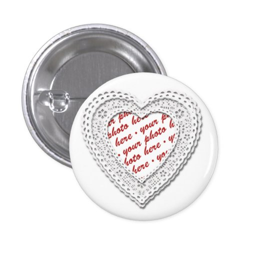 White Laced Heart Photo Frame Pin