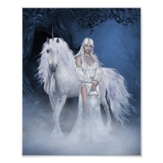 White Lady and Unicorn Mini Poster