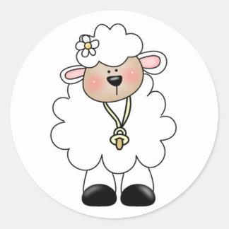 White Lamb Classic Round Sticker