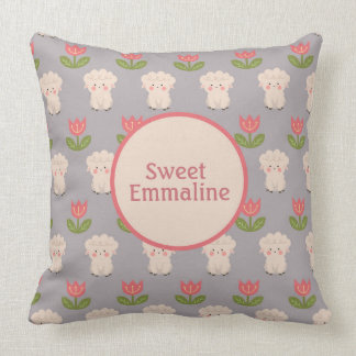 White Lambs Pink Flowers Gray Monogram Pillow