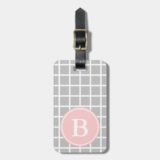 White Lattice on Ash Grey With Baby Pink Monogram Bag Tag
