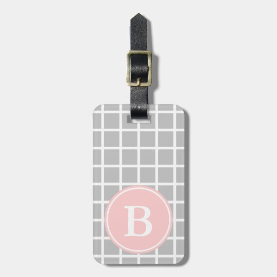 White Lattice on Ash Grey With Baby Pink Monogram Luggage Tag