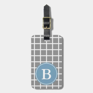 White Lattice on Dove Grey Carolina Blue Monogram Luggage Tag
