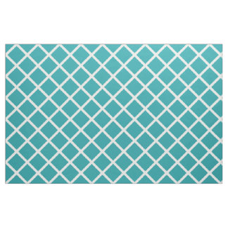 White Lattice on Pure Turquoise Fabric