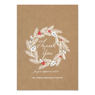 White Laurel Wreath on Kraft Paper Corporate Card