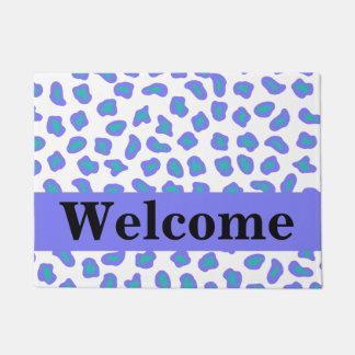 White Lavender Purple Leopard Skin Pattern Welcome Doormat