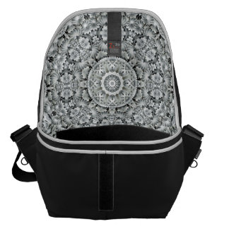 White Leaf Kaleidoscope  Courier Bags