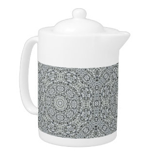 White Leaf  Kaleidoscope   Pattern  Teapots