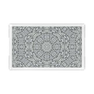 White Leaf Pattern Acrylic Trays, 2 shapes 4 sizes Serving Tray