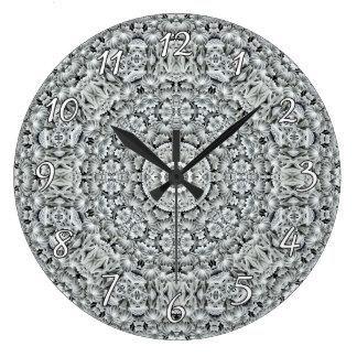 White Leaf Pattern  Clock, square or round Large Clock