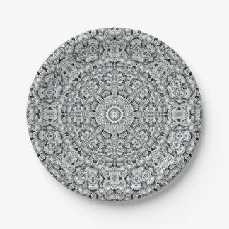 White Leaf Pattern Custom Paper Plates