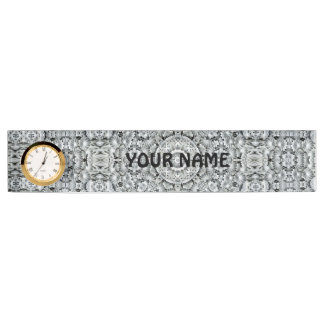 White Leaf Pattern   Desk Nameplate with Clock