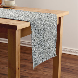 White Leaf Pattern Kaleidoscope    Table Runners