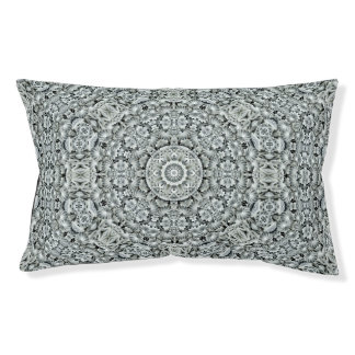 White Leaf Pattern   Kaleidoscope  Vintage Dog Bed