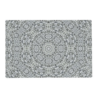 White Leaf Pattern Placemat Laminated Placemat