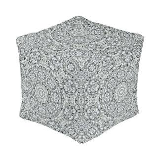 White Leaf Pattern  Pouf Cube, 2 sizes