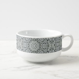 White Leaf Pattern Soup Mug
